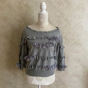 ❤️Anthro Knitted&Knotted Gray Pom-Pom Fringe Top M